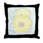 Yellow Barrel Cactus Flowers Throw Pillow