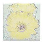 Yellow Barrel Cactus Flowers Tile Coaster