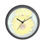Yellow Barrel Cactus Flowers Wall Clock