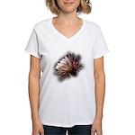 White Cactus Flower Women's V-Neck T-Shirt