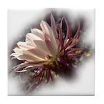 White Cactus Flower Tile Coaster