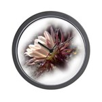 White Cactus Flower Wall Clock