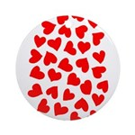 Red Hearts Pattern Ornament (Round)