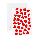 Red Hearts Pattern Greeting Cards (Pk of 10)