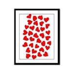 Red Hearts Pattern Framed Panel Print