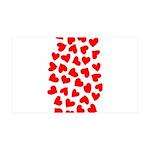 Red Hearts Pattern 38.5 x 24.5 Wall Peel