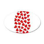 Red Hearts Pattern 38.5 x 24.5 Oval Wall Peel
