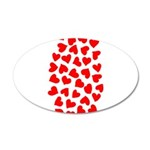 Red Hearts Pattern 22x14 Oval Wall Peel