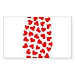 Red Hearts Pattern Sticker (Rectangle 10 pk)