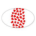 Red Hearts Pattern Sticker (Oval 10 pk)