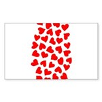 Red Hearts Pattern Sticker (Rectangle)