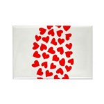 Red Hearts Pattern Rectangle Magnet (100 pack)