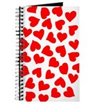 Red Hearts Pattern Journal