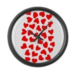 Red Hearts Pattern Large Wall Clock