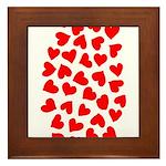 Red Hearts Pattern Framed Tile