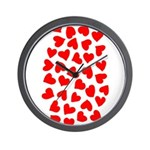 Red Hearts Pattern Wall Clock
