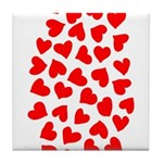 Red Hearts Pattern Tile Coaster