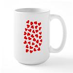 Red Hearts Pattern Large Mug