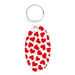 Red Hearts Pattern Aluminum Oval Keychain