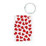 Red Hearts Pattern Aluminum Photo Keychain