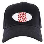 Red Hearts Pattern Black Cap
