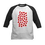 Red Hearts Pattern Kids Baseball Jersey