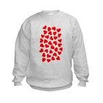 Red Hearts Pattern Kids Sweatshirt