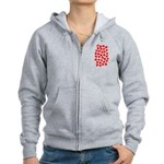 Red Hearts Pattern Women's Zip Hoodie