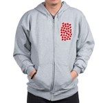 Red Hearts Pattern Zip Hoodie