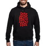 Red Hearts Pattern Hoodie (dark)