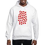 Red Hearts Pattern Hooded Sweatshirt