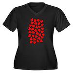 Red Hearts Pattern Women's Plus Size V-Neck Dark T