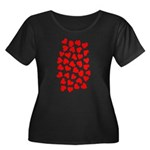 Red Hearts Pattern Women's Plus Size Scoop Neck Da
