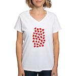 Red Hearts Pattern Women's V-Neck T-Shirt