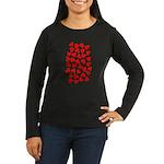 Red Hearts Pattern Women's Long Sleeve Dark T-Shir