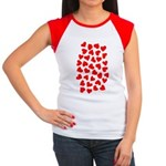 Red Hearts Pattern Women's Cap Sleeve T-Shirt
