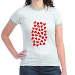 Red Hearts Pattern Jr. Ringer T-Shirt