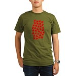Red Hearts Pattern Organic Men's T-Shirt (dark)