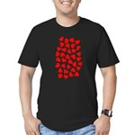 Red Hearts Pattern Men's Fitted T-Shirt (dark)