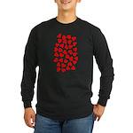 Red Hearts Pattern Long Sleeve Dark T-Shirt