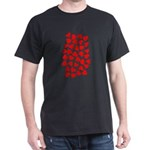 Red Hearts Pattern Dark T-Shirt