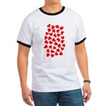 Red Hearts Pattern Ringer T