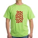 Red Hearts Pattern Green T-Shirt