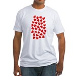 Red Hearts Pattern Fitted T-Shirt