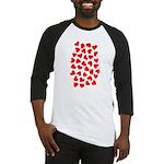 Red Hearts Pattern Baseball Jersey