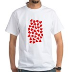 Red Hearts Pattern White T-Shirt