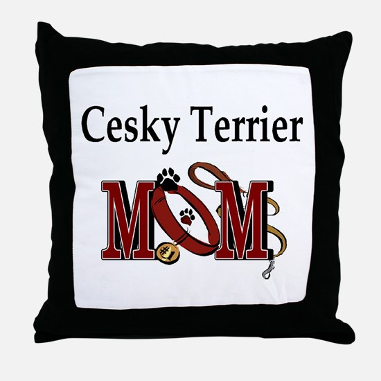 Cesky Terrier Mom Throw Pillow