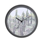 Many Saguaros Recreated Wall Clock
