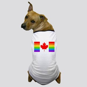 Canadian Gay Pride Flag Dog T-Shirt