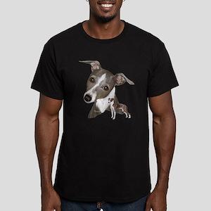 Italian Greyhound art Men's Fitted T-Shirt (dark)